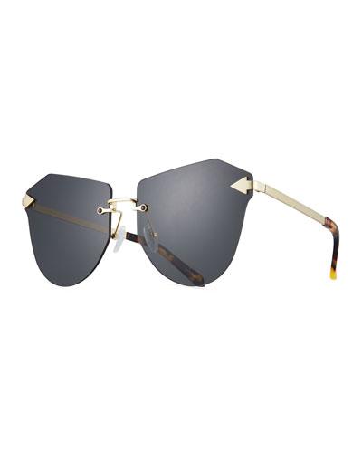 Dancer Rimless Cat-Eye Sunglasses, Brown Pattern