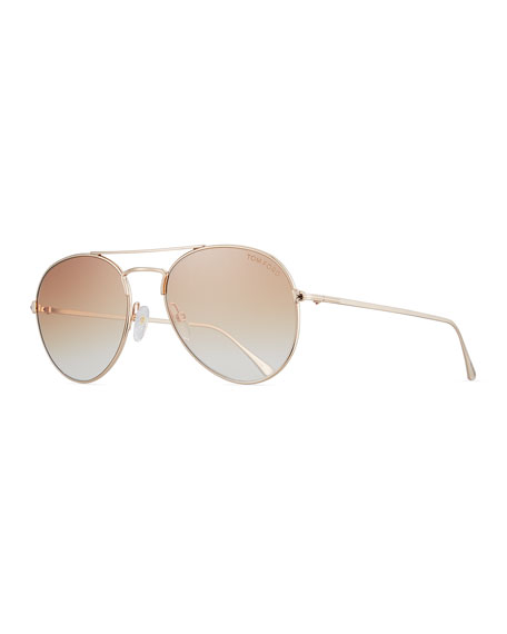 TOM FORD Ace Aviator Sunglasses, Rose Gold