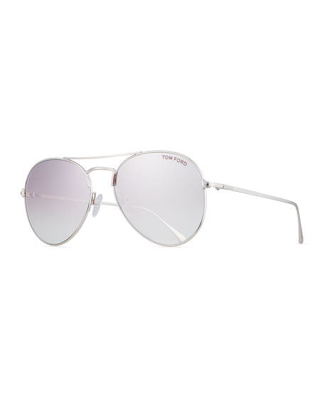 TOM FORD Ace Aviator Sunglasses, Silver