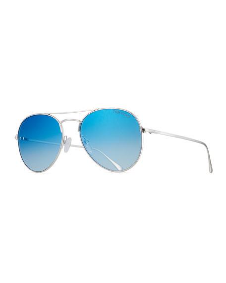 TOM FORD Ace Aviator Sunglasses, Blue