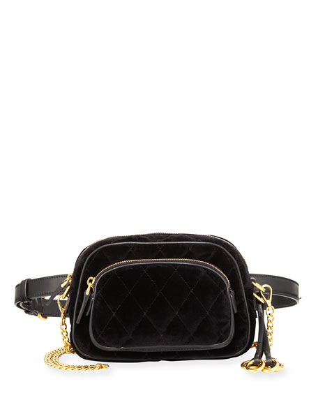 Prada Cahier Small Velvet Convertible Belt Bag