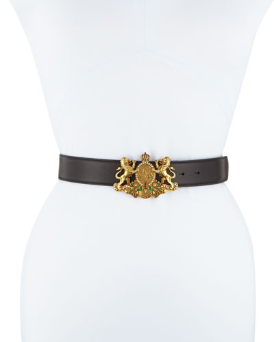 Lion Crest Calf Leather Belt