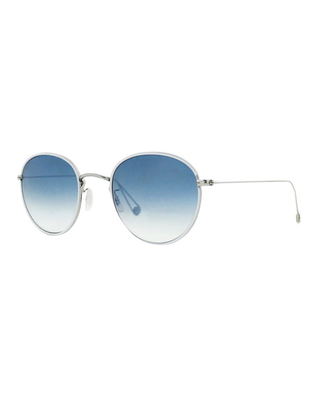Garrett Leight Paloma Round Gradient Sunglasses, Light Blue
