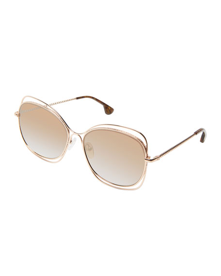 Alice + Olivia Collins Wire-Trim Detail Butterfly Sunglasses