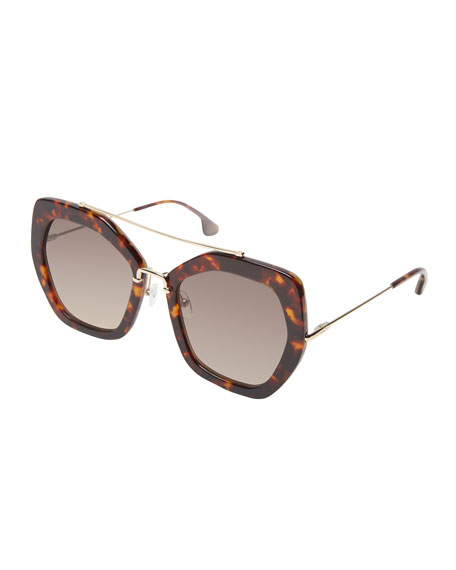 Alice + Olivia Bowery Square Sunglasses, Brown Pattern