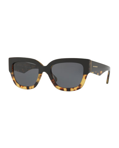 Two-Tone Square Acetate Sunglasses