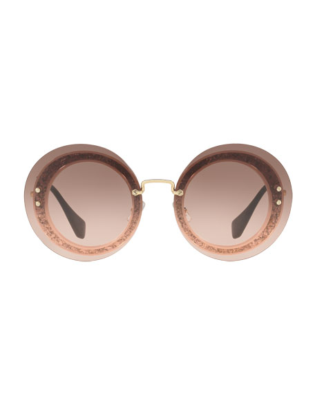 Round Glitter-Illusion Frame Sunglasses