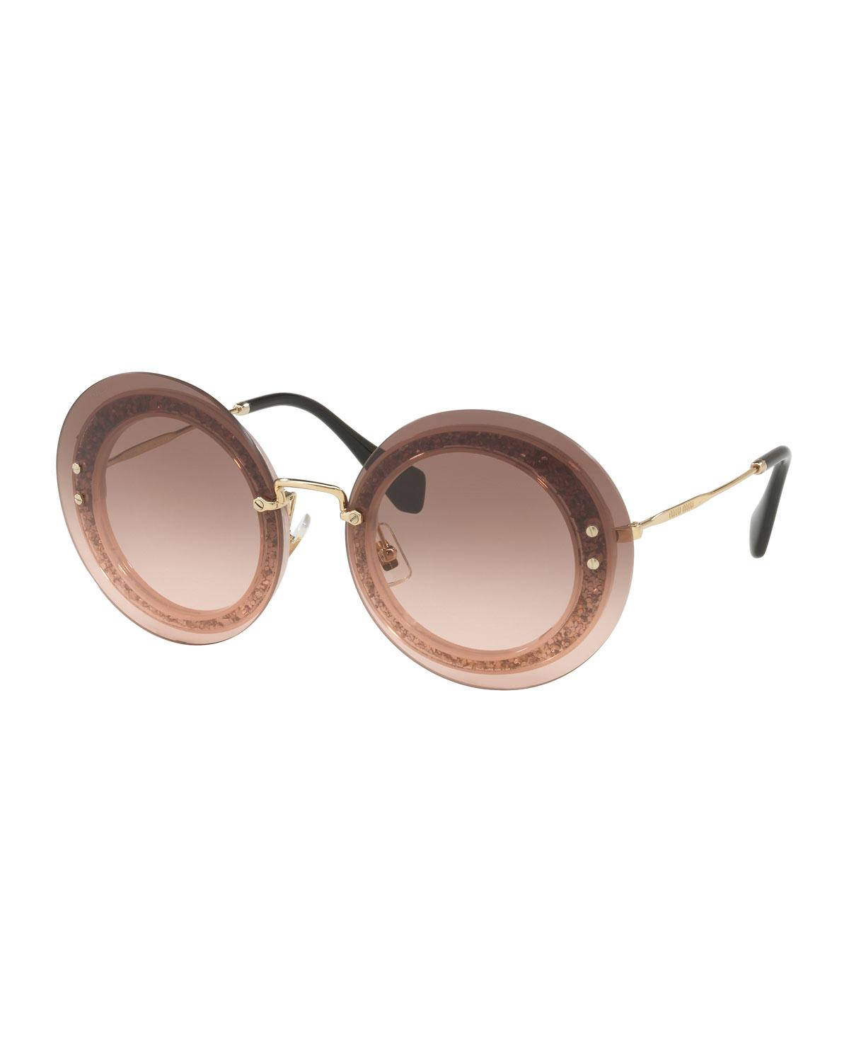 e53755ada4b9 Miu Miu Round Glitter-Illusion Frame Sunglasses
