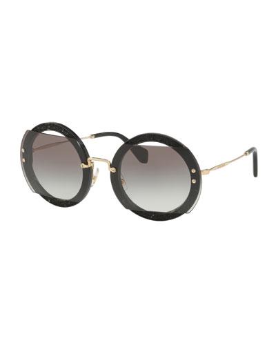 Round Cutout Glitter Sunglasses