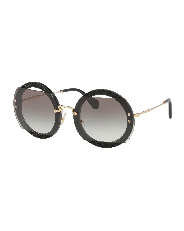 44d3d573d1fd Miu Miu Round Cutout Glitter Sunglasses
