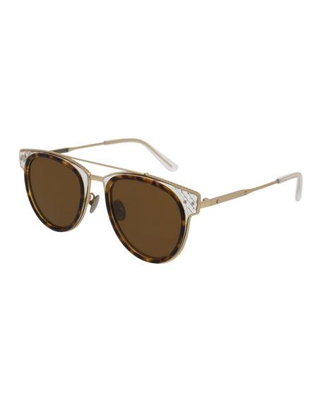 Bottega Veneta Cat-Eye Acetate Intrecciato Sunglasses, Brown