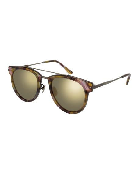 Bottega Veneta Cat-Eye Acetate Intrecciato Sunglasses, Blue/Pink