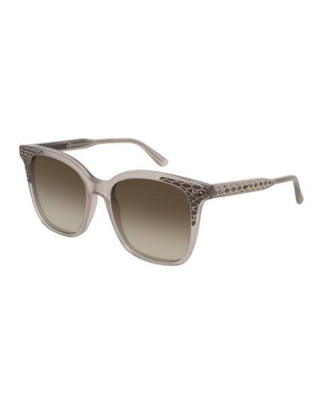 Bottega Veneta Square Intrecciato Acetate Sunglasses, Brown