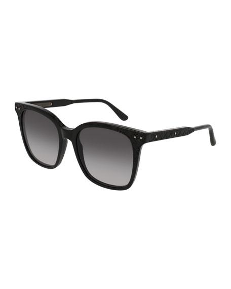 Bottega Veneta Square Intrecciato Acetate Sunglasses, Black