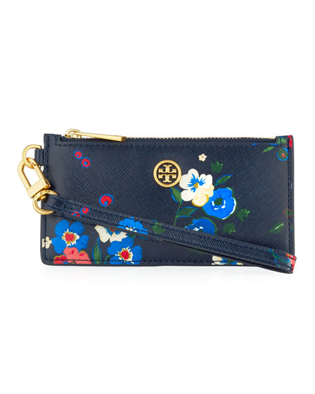 Parker Floral-Print Zip Card Case with Wristlet
