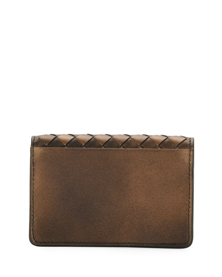 Metallic Intrecciato Flap Card Case