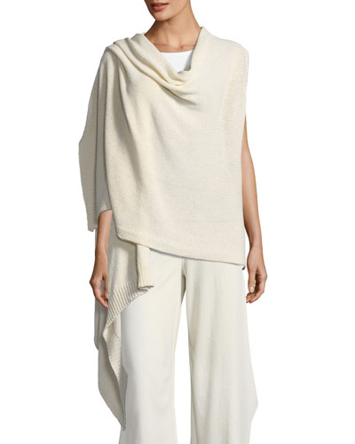 Cozy Organic Cotton-Blend Asymmetric Wrap, Petite