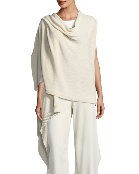 Eileen Fisher Cozy Organic Cotton-Blend Asymmetric Wrap, Plus