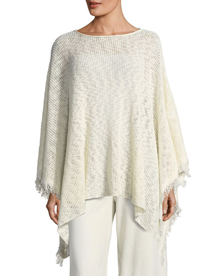 Peruvian Organic Cotton Nubble Poncho, Plus Size
