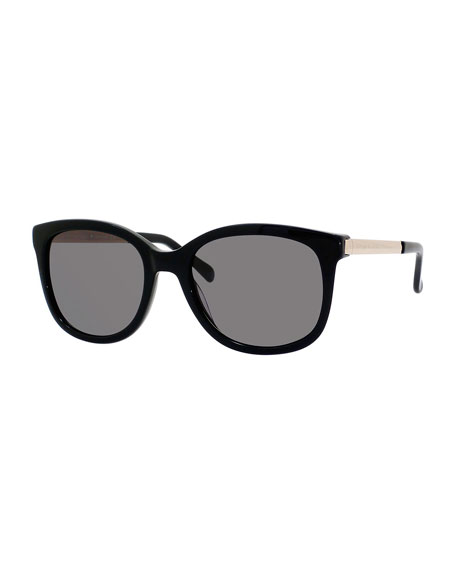 gayla round acetate sunglasses w/ metal trim