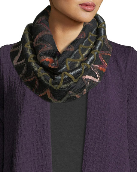 Caroline Rose Zigzag Striped Infinity Scarf