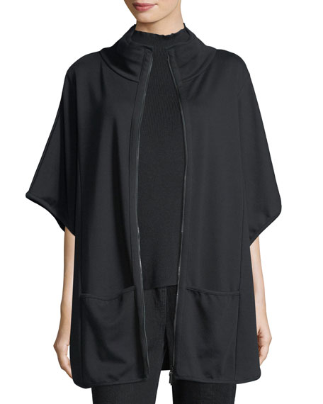 Joan Vass Interlock Zip-Front Poncho, Plus Size