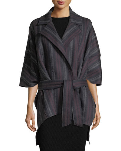Striped Wool Belted Cape
