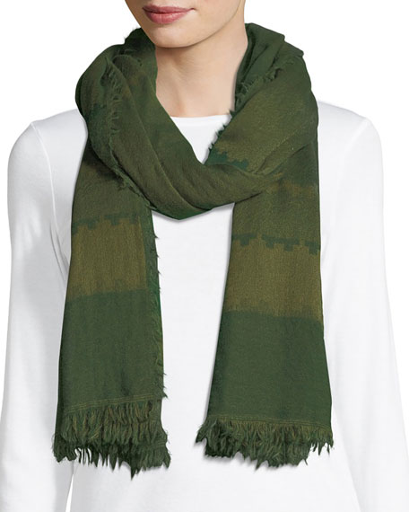 Eileen Fisher Geometric Striped Wool Scarf