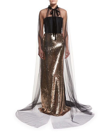 Monique Lhuillier Strapless Velvet Sequined Column Gown and