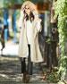Helinax Hooded Wool Wrap Cape w/ Fur Trim