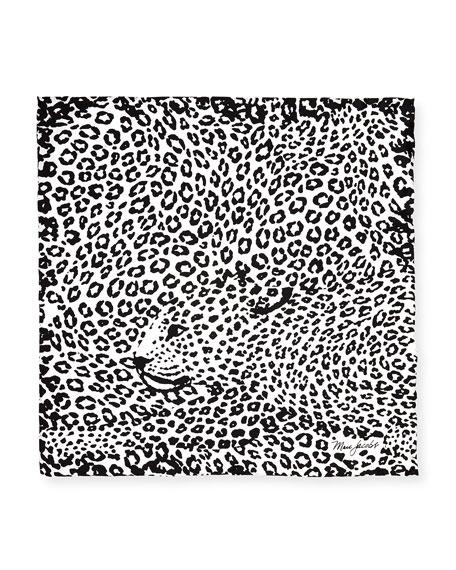 Leopard-Print Silk Square Scarf