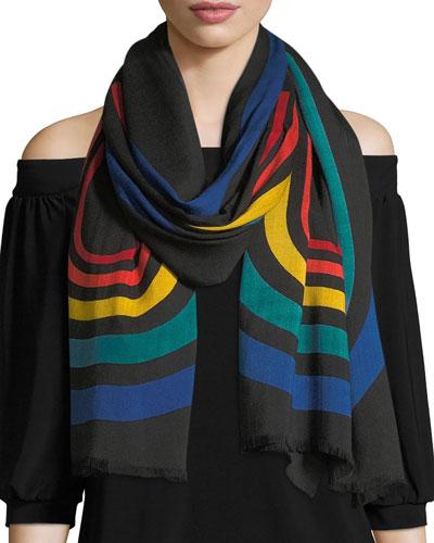Vintage Stripe Viscose-Wool Logo Stole