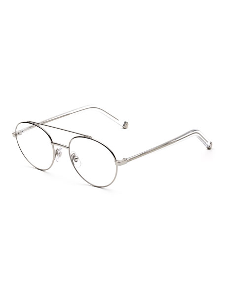 Super NUMERO 32 AVIATOR METAL OPTICAL FRAMES, SILVER