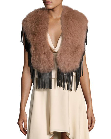 Haute Hippie Lily Fur Fringed Collar
