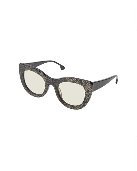 Alice + Olivia Delancey Cat-Eye Snake-Embossed Sunglasses