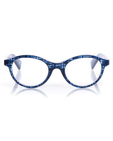 Soft Kitty Rounded Cat-Eye Readers, Blue Pattern