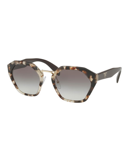 Prada Hexagonal Two-Tone Sunglasses