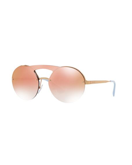 Prada Curved Brow-Bar Round Sunglasses