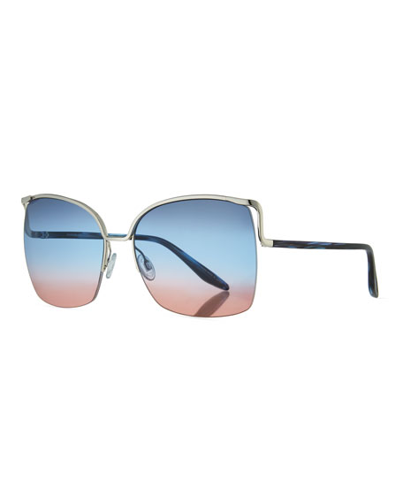 Barton Perreira Satdha Semi-Rimless Square Sunglasses, Gray/Metallic