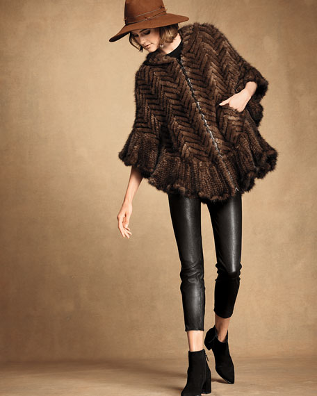 Herringbone Mink Fur Cape Coat