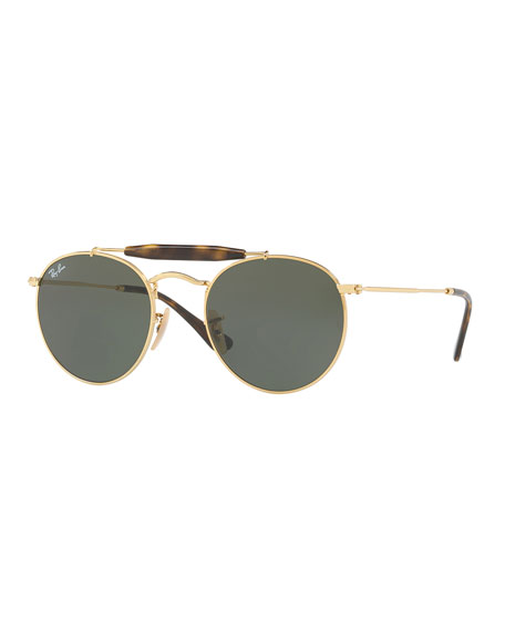 Contrast Brow-Bar Round Sunglasses