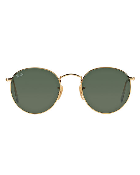 Solid Round Metal Sunglasses