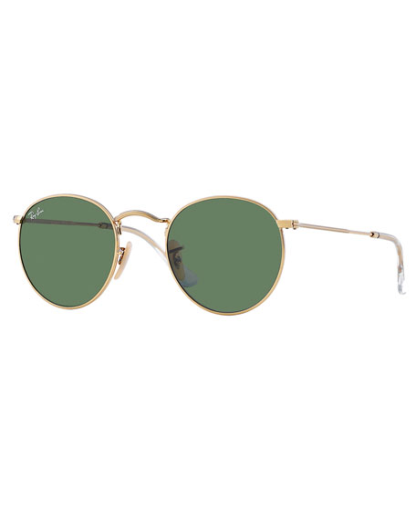 Icons 50Mm Round Metal Sunglasses - Gold/ Green from EAST DANE