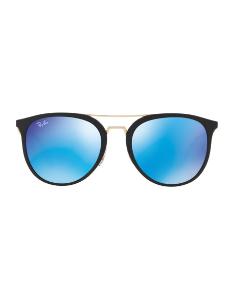 Round Iridescent Brow-Bar Sunglasses