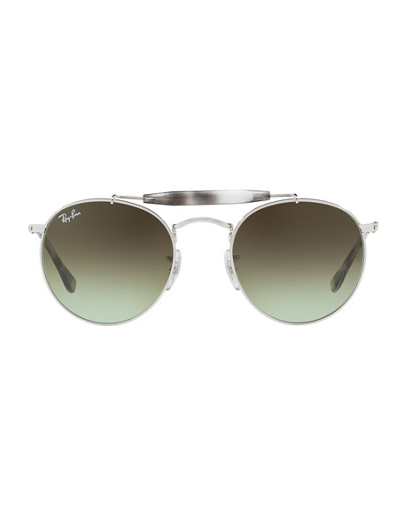 Gradient Contrast Brow-Bar Round Sunglasses