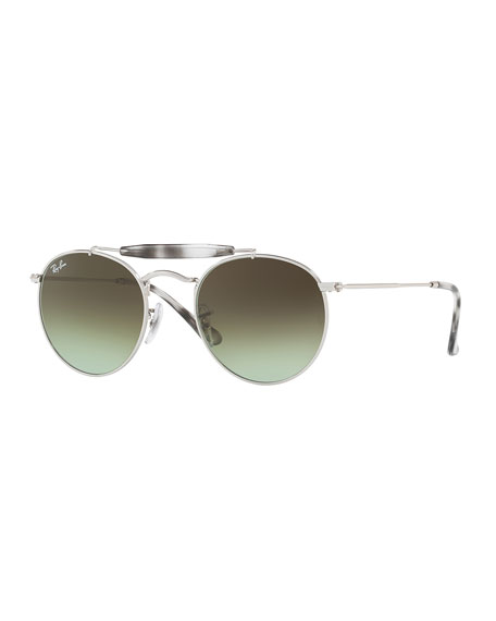 Ray-Ban Gradient Contrast Brow-Bar Round Sunglasses