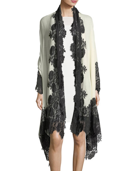 Bindya Evening Stole Wrap w/ Lace Trim