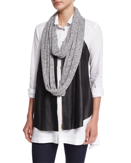 XCVI Upstage Perforated Leather Vest, Long Pleated-Waist Tunic,