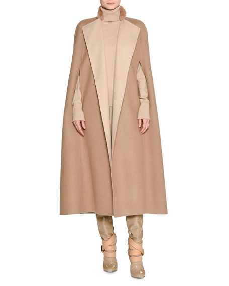 Agnona Double-Face Cashmere Cape w/Fur Collar