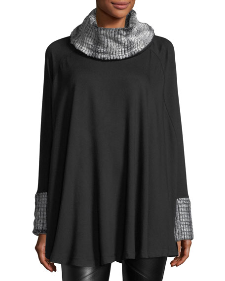 Faux-Fur Trim Circle Poncho